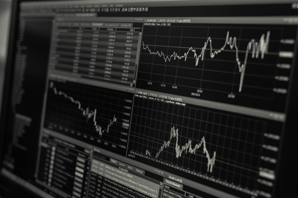 stock market chart on computer_b&w