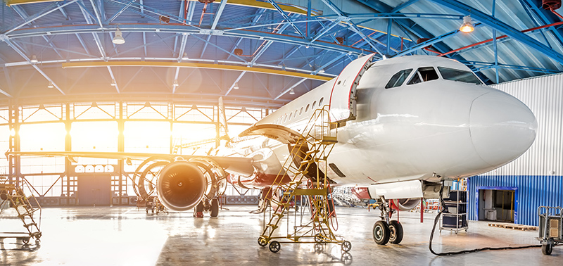 Maintenance and repair of aircraft in the aviation hangar of the airport