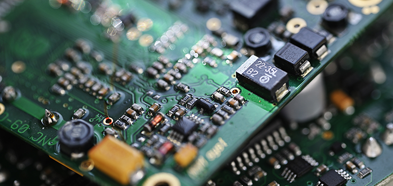 electronic components on printed circuit board.