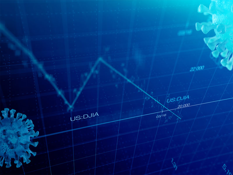 Stock market graph global crisis couased by corona virus SARS-C