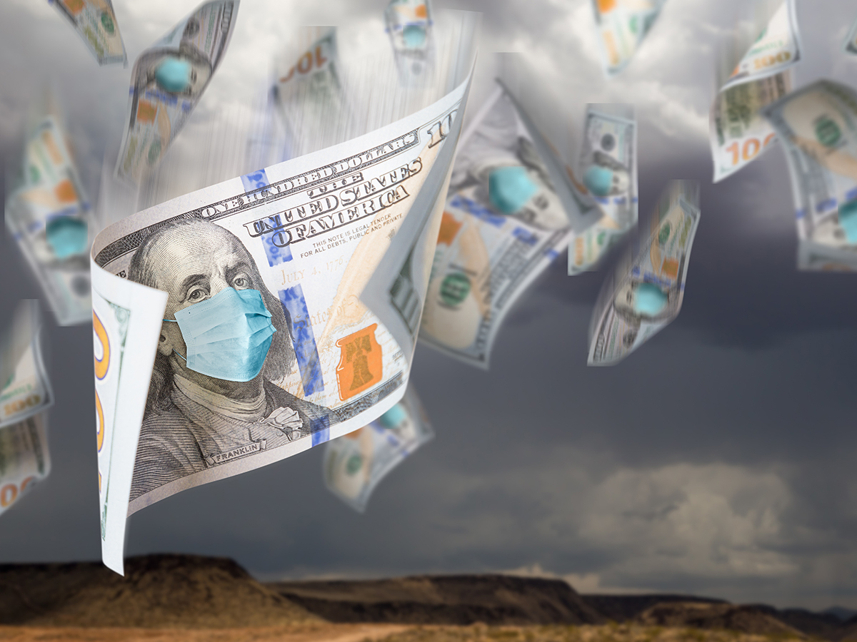 100 Dollar Bills with Face Mask Falling From Stormy Cloudy Sky.