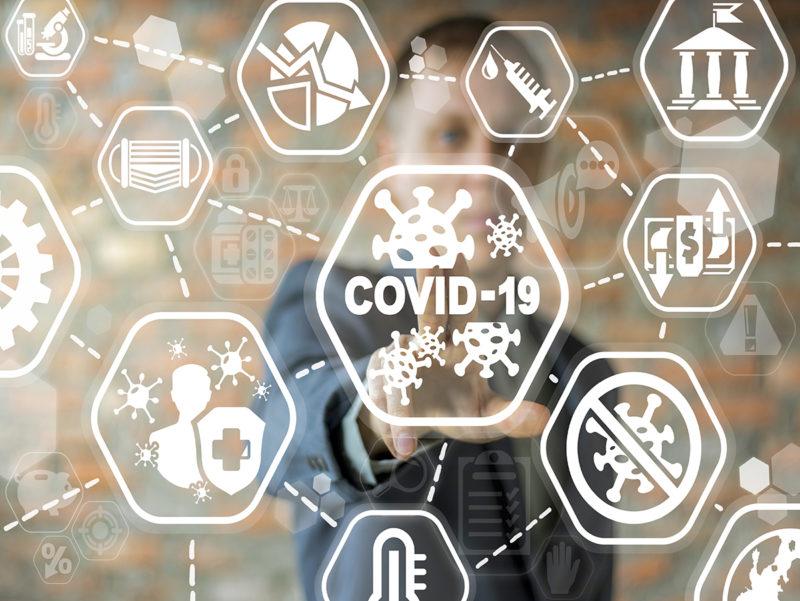 COVID-19 Business Finance Crisis Concept. Coronavirus Danger Pan