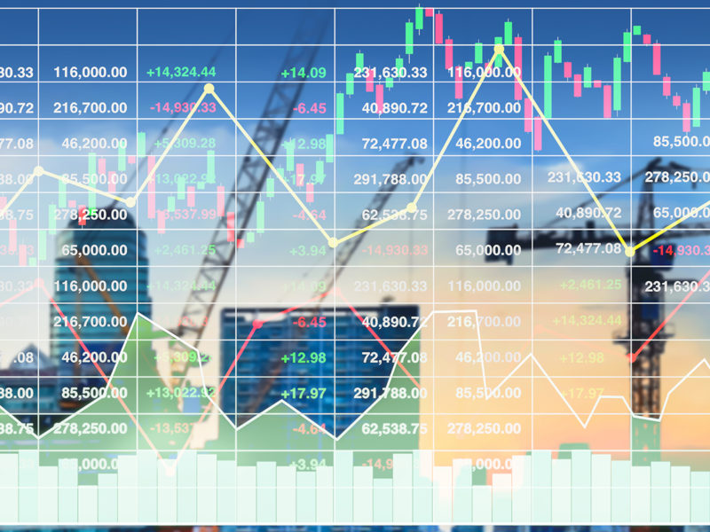 financial forecast showing graphs and stock market index