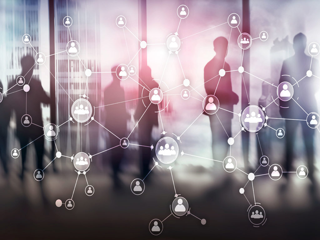 HR human resources management concept corporate organisation structure mixed media double exposure virtual screen.