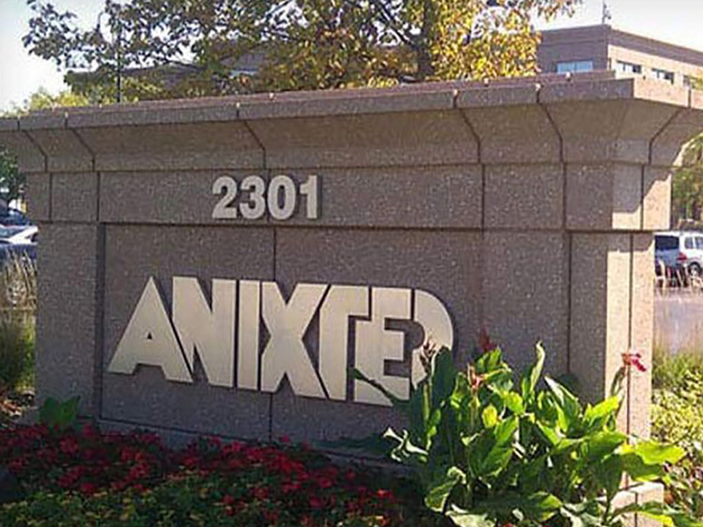Anixter company logo on sign outside