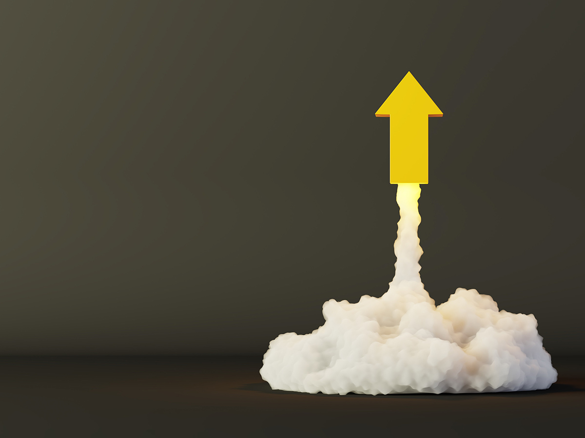 Arrows being launched, success and growth concepts, original 3d