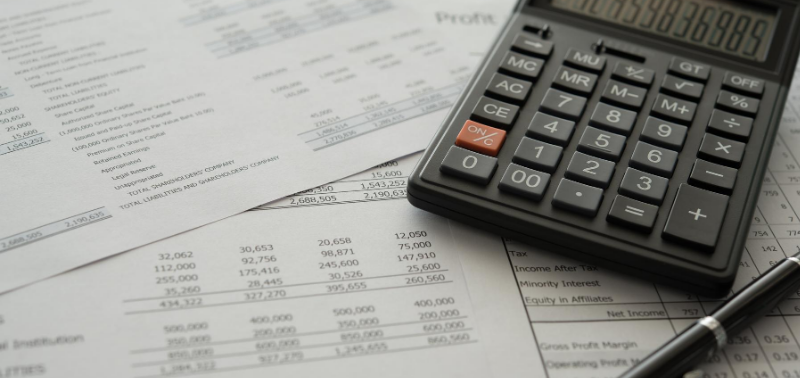 Balance sheets with calculator