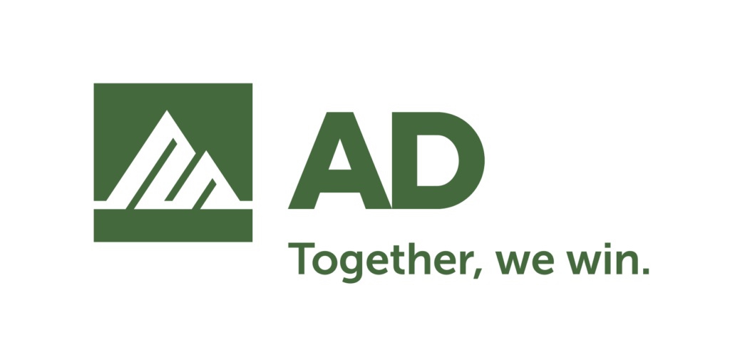 AD green logo with mountain image