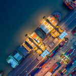 overhead shot of colorful ships in a ship yard