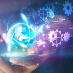 Hand touch screen smart phone.Digital technology concept,Social media digital innovation