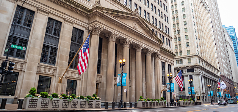 Chicago, Illinois, USA. May 9, 2019. Side view of the Federal Reserve Bank of Chicago. Stone building with corinthian colonnades background.