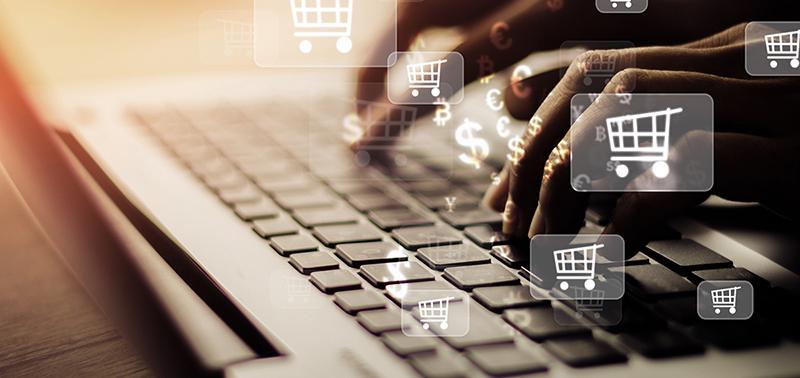 e-commerce depiction laptop digital shopping cart