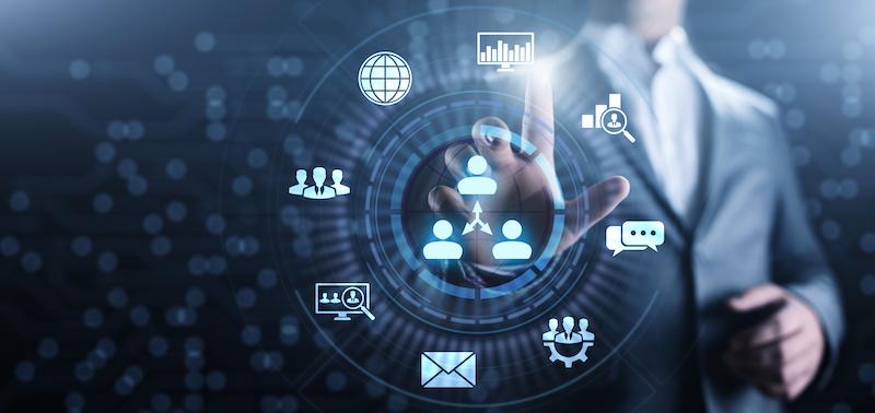 CRM - Customer Relationship Management. Enterprise Communication and planning software concept