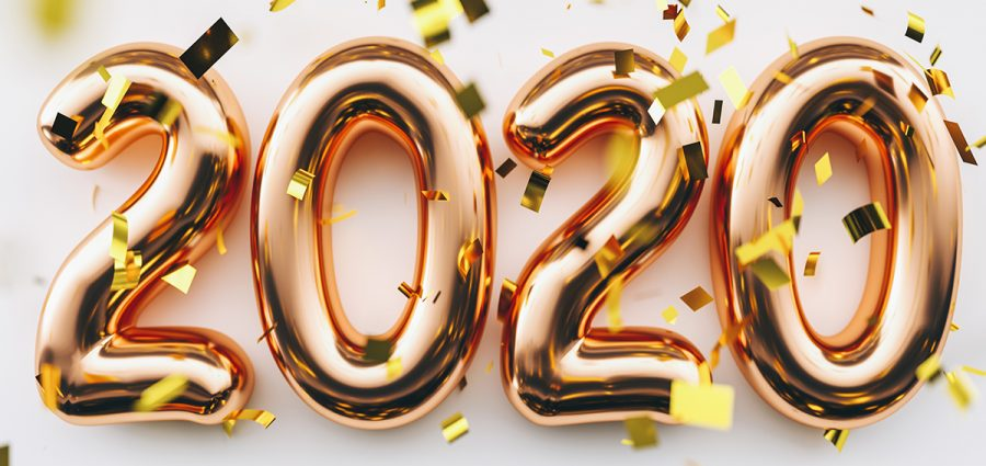 Happy New 2020 Year. Holiday copper metallic numbers 2020 and co