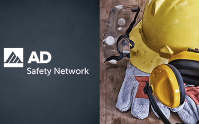 yellow hard hat, gloves, logo for AD and SafetyNetwork