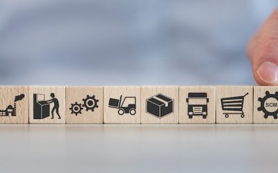 Concept of SCM with icons on wooden cubes