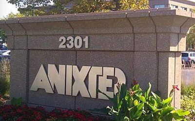 Anixter company logo on sign outside
