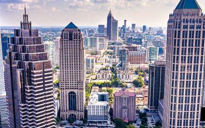 Aerial view downtown Atlanta skyline
