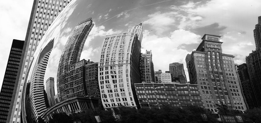Chicago skyline seen in The Bean art installation