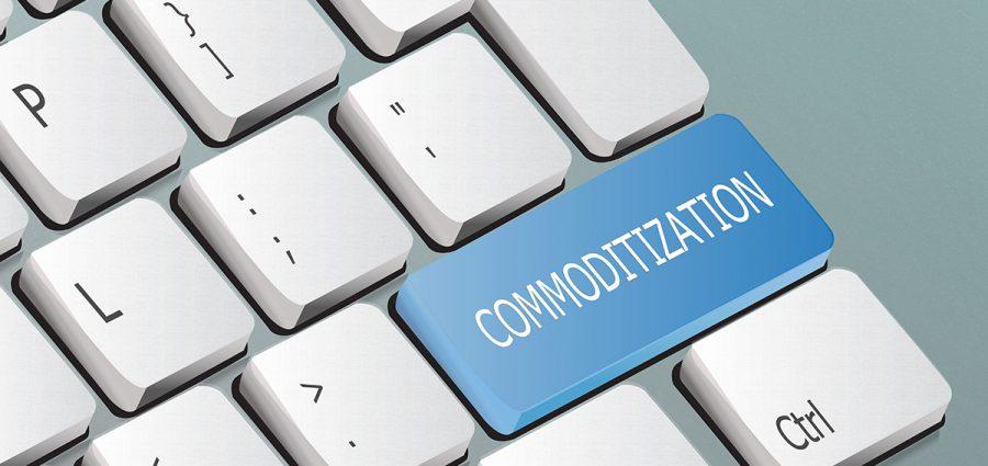 commoditization written on the keyboard button