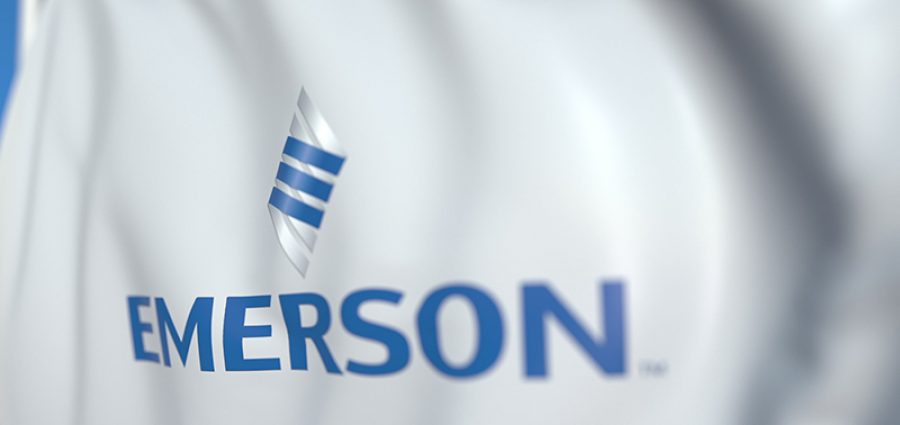 Waving flag with Emerson Electric logo. Editorial 3D