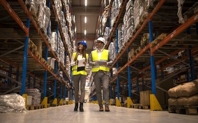 Managers walking through large warehouse controlling goods distr