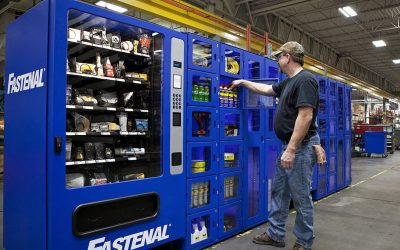 Fastenal vending machine with man selecting item