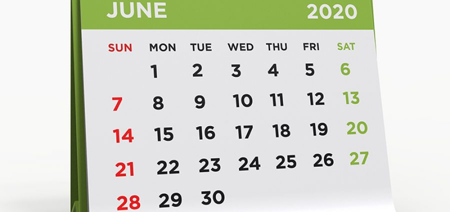 Calendar showing June 2020