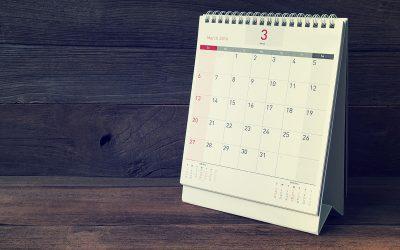 March Calendar 2016 on wood table,vintage filter