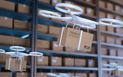 Drones carry express packages in warehouses.Packages are transported in high-tech Settings,online shopping,Concept of automatic logistics management.3d rendering warehouse.