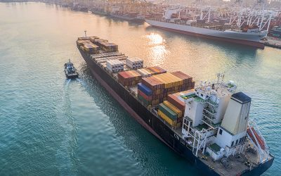 commercial vessel container ship in proceeding arrival to the po