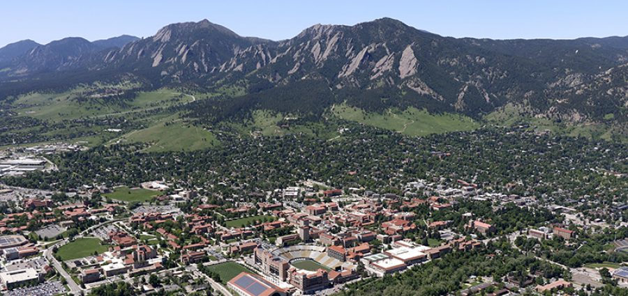 aerial photo of the University of Colorado Boulder campus in Boulder Colorado with foothills in the background