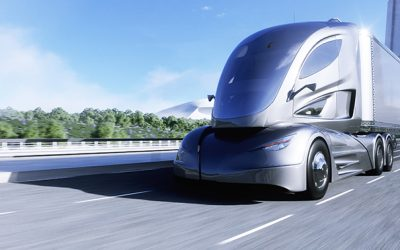 3d model of futuristic electric truck on highway. Future city background. Electric automobile. 3d rendering