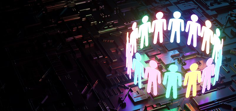 inclusion, a working group of five multi-colored icons of a human worker on a dark background. team building, cultural diversity, staffing decisions. 3D rendering, 3D illustration, business culture