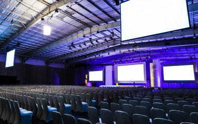 Rows of empty chairs in large Conference hall for Corporate Convention or Lecture