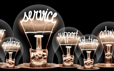 Group of light bulbs with shining fibers in shapes of Service, Advice, Quality, Help and Customer concept related words isolated on black background