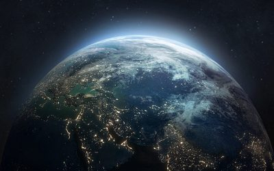 Nightly planet Earth in dark outer space. Civilization. Elements