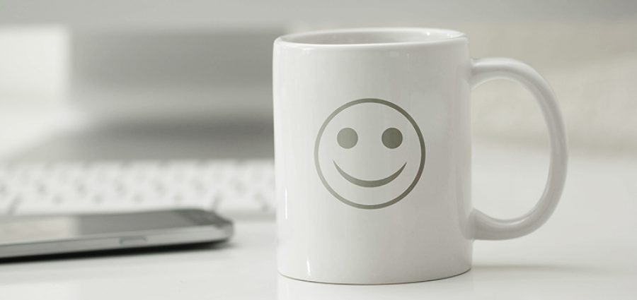happy white coffee mug computer