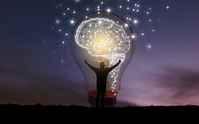 innovation man sunset light bulb