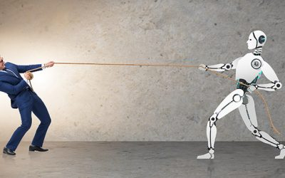 man playing tug of war against a machine with a rope