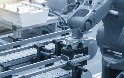 The hi-technology material handing process in by robotics system. The modern technology for automatic packaging process control by computer system.