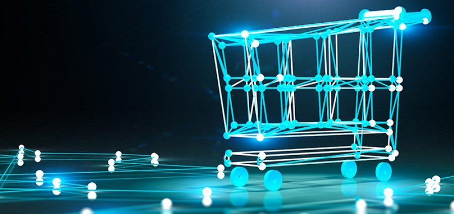 Internet business and basket design, blue digital shopping cart on black background