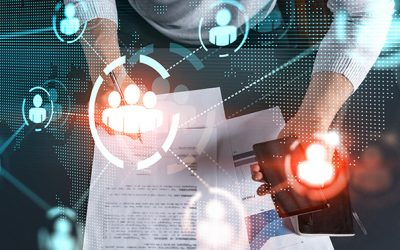 Man sign SMM contract to promote personal brand project. Multiexposure. Social network hologram.